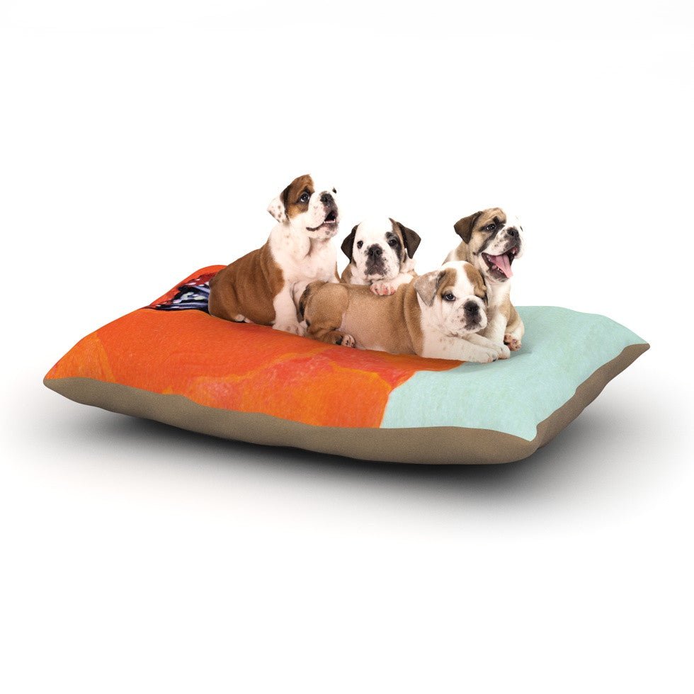 "Christen Treat ""Vintage Poppy"" Orange Flower Dog Bed - KESS InHouse  - 1"