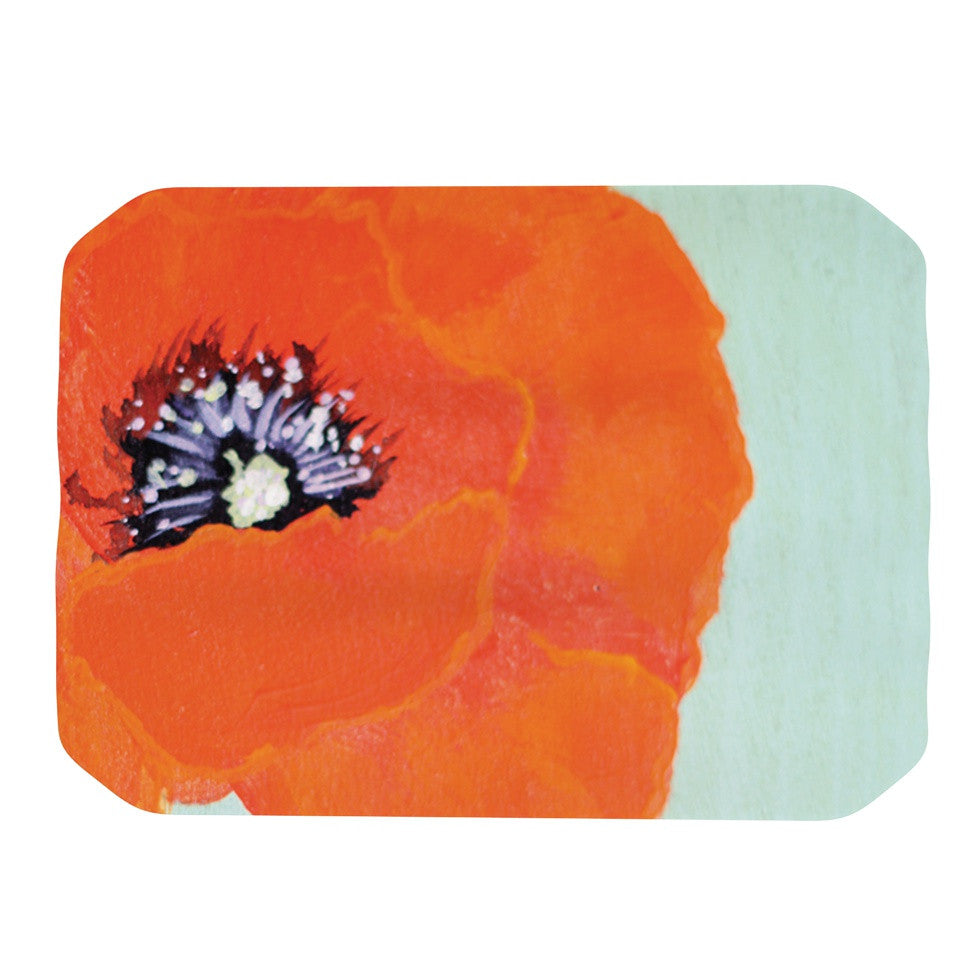 "Christen Treat ""Vintage Poppy"" Orange Flower Place Mat - KESS InHouse"