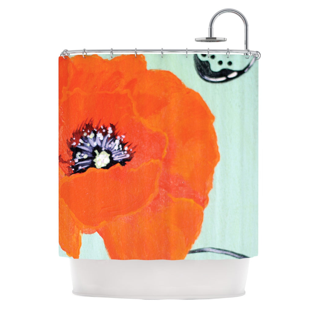"Christen Treat ""Vintage Poppy"" Orange Flower Shower Curtain - KESS InHouse"
