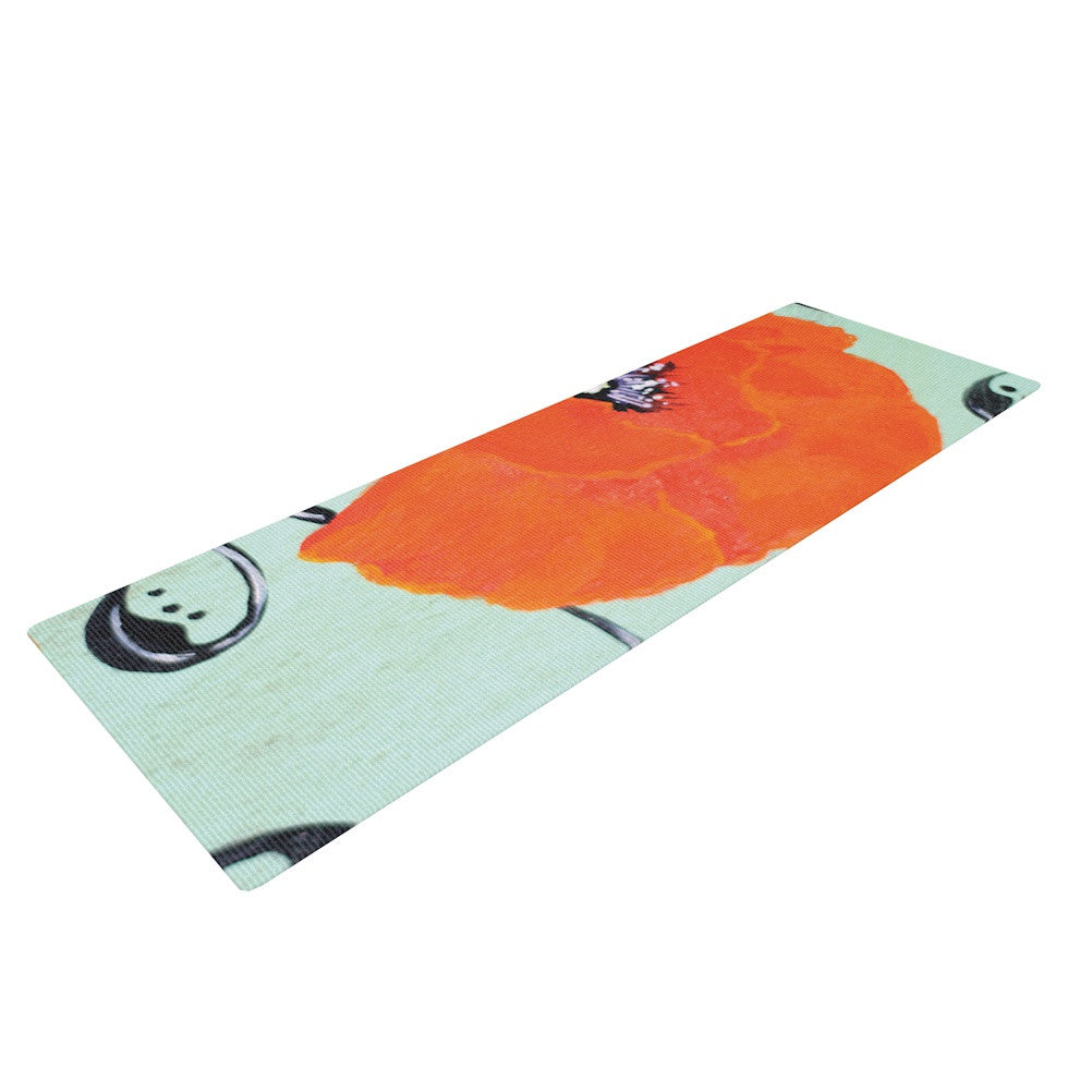 "Christen Treat ""Vintage Poppy"" Orange Flower Yoga Mat - KESS InHouse  - 1"
