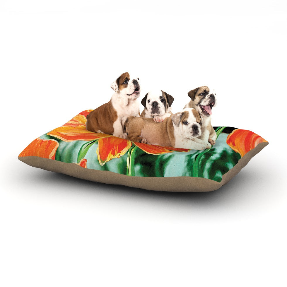 "Christen Treat ""Through the Looking Glass"" Orange Green Dog Bed - KESS InHouse  - 1"