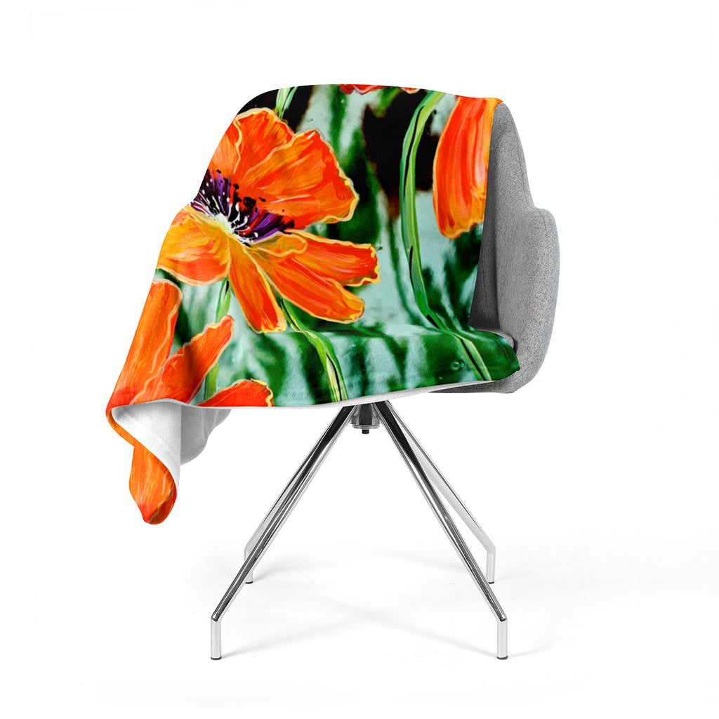 "Christen Treat ""Through the Looking Glass"" Orange Green Fleece Throw Blanket"