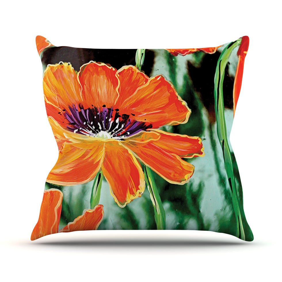 "Christen Treat ""Through the Looking Glass"" Orange Green Throw Pillow - KESS InHouse  - 1"