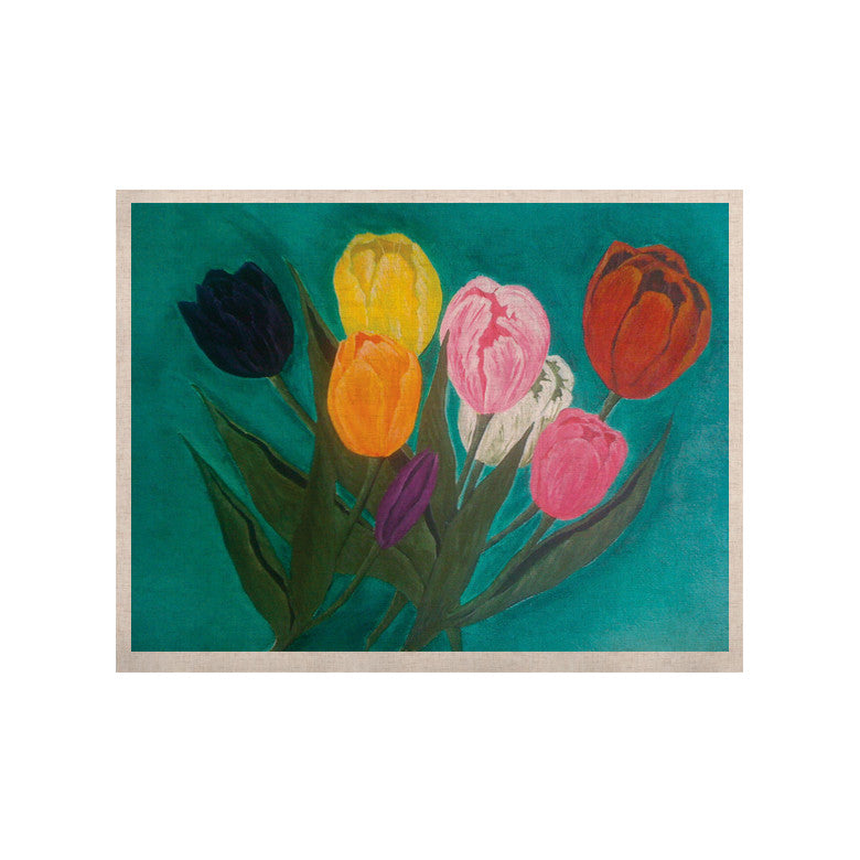 "Christen Treat ""Tulips"" Rainbow Flower KESS Naturals Canvas (Frame not Included) - KESS InHouse  - 1"