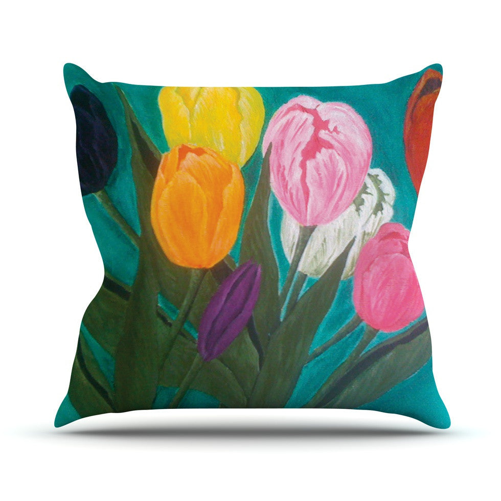 "Christen Treat ""Tulips"" Rainbow Flower Outdoor Throw Pillow - KESS InHouse  - 1"