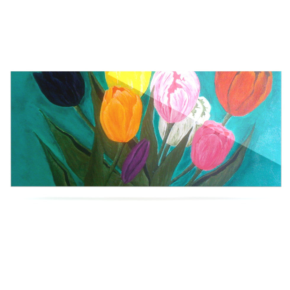 "Christen Treat ""Tulips"" Rainbow Flower Luxe Rectangle Panel - KESS InHouse  - 1"