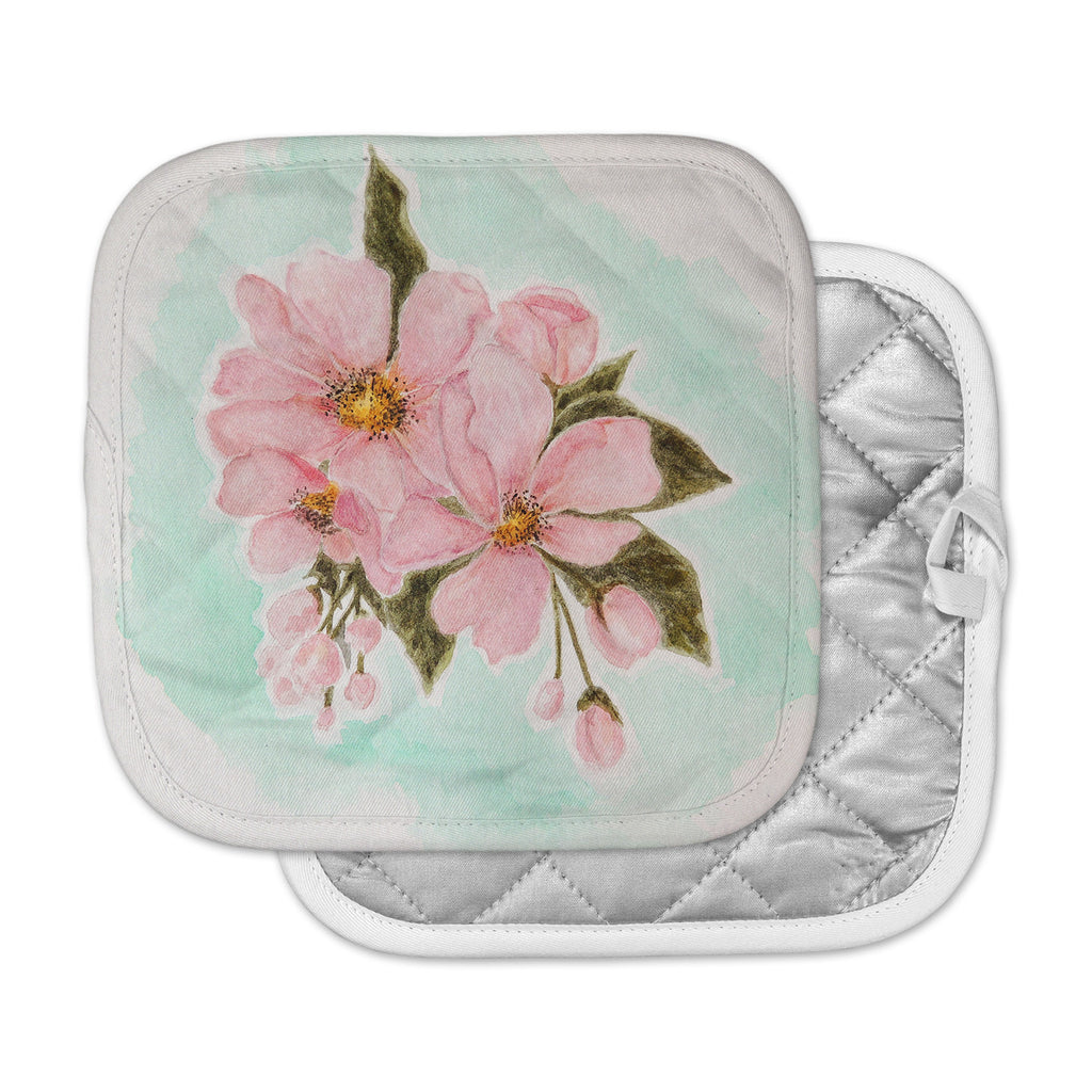 "Christen Treat ""Fumiko"" Pink Green Pot Holder"