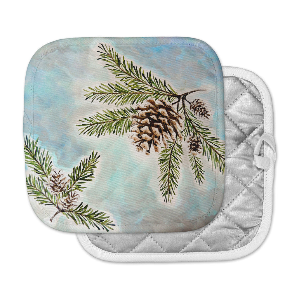 "Christen Treat ""Pinecones and Sky"" Blue Brown Pot Holder"