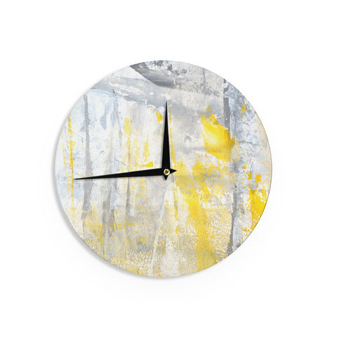 "CarolLynn Tice ""Abstraction"" Grey Yellow Wall Clock - Outlet Item"