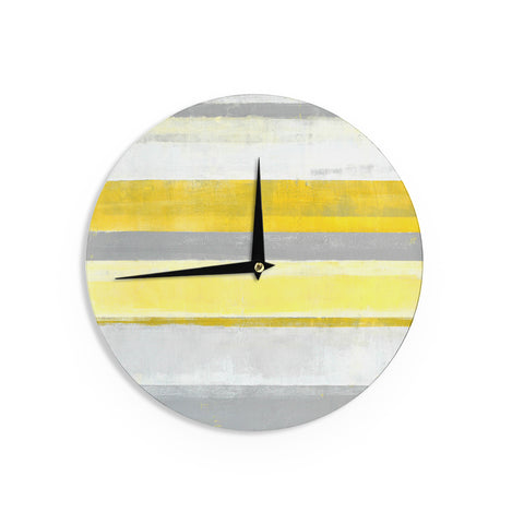 "CarolLynn Tice ""Lemon"" Yellow Gray Wall Clock - Outlet Item"