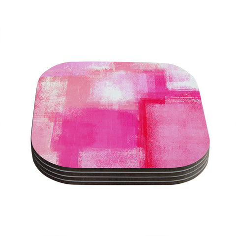 "CarolLynn Tice ""Running Late"" Pink White Coasters (Set of 4) - Outlet Item"
