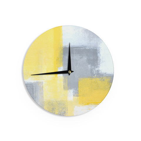 "CarolLynn Tice ""Steady"" Yellow Gray Wall Clock - Outlet Item"