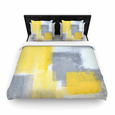 "CarolLynn Tice ""Steady"" Yellow Gray Woven Duvet Cover - Outlet Item"