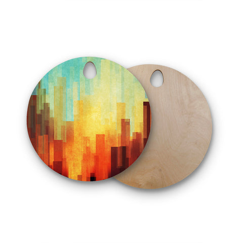 "Cvetelina Todorova ""Urban Sunset"" Teal Geometric Round Wooden Cutting Board"