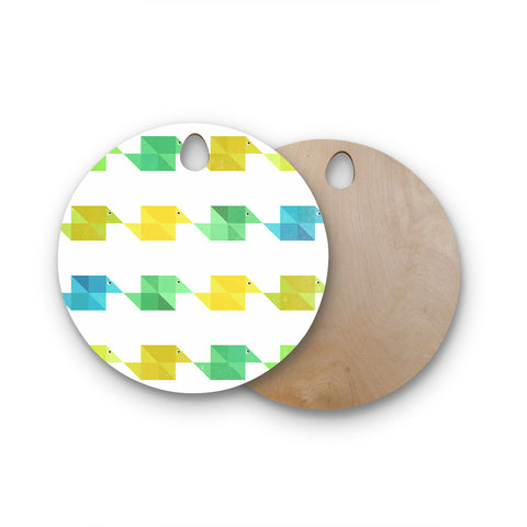 "Cvetelina Todorova ""Duck Pattern"" White Teal Green Round Wooden Cutting Board"