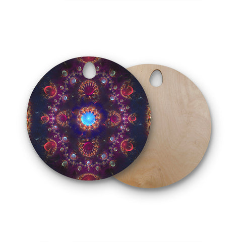 "Cvetelina Todorova ""Royal Jewels"" Purple Blue Round Wooden Cutting Board"