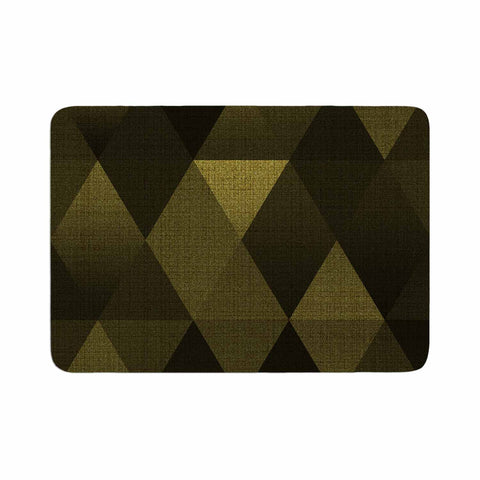 "Cvetelina Todorova ""Golden Triangles"" Black Yellow Memory Foam Bath Mat - Outlet Item"
