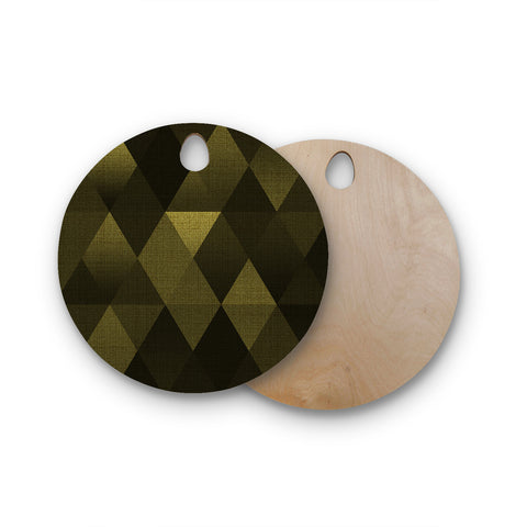 "Cvetelina Todorova ""Golden Triangles"" Black Yellow Round Wooden Cutting Board"