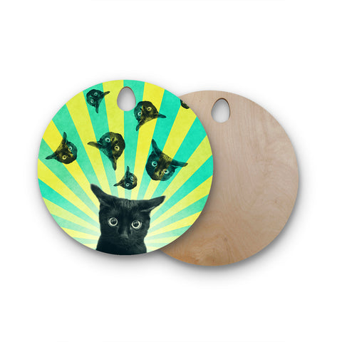 "Cvetelina Todorova ""Cat Explosion"" Round Wooden Cutting Board"