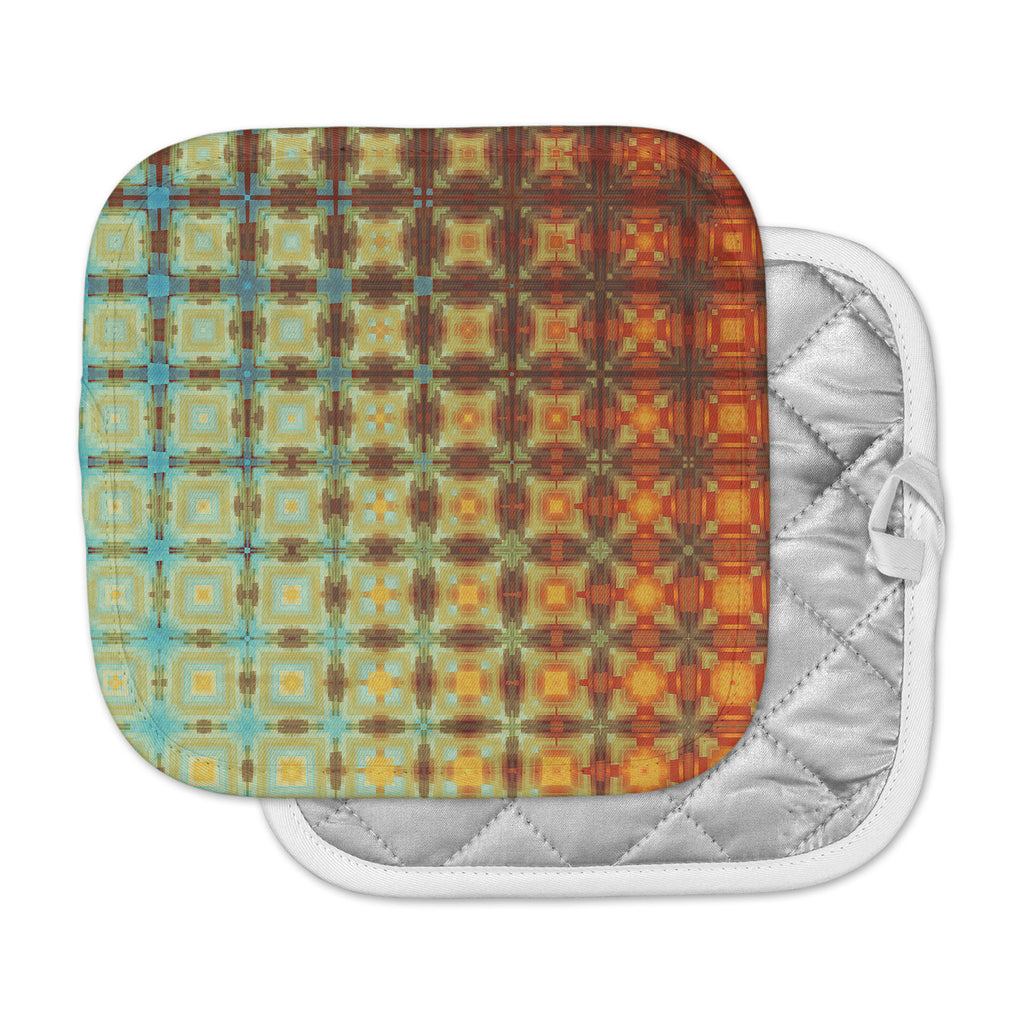 "Cvetelina Todorova ""Colorful Grid"" Yellow Gold Digital Pot Holder"