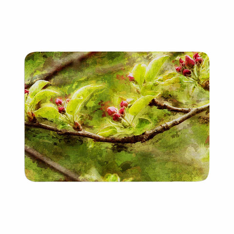 "Ginkelmier ""Painted Apple Blossom Branch"" Green Photography Memory Foam Bath Mat - Outlet Item"
