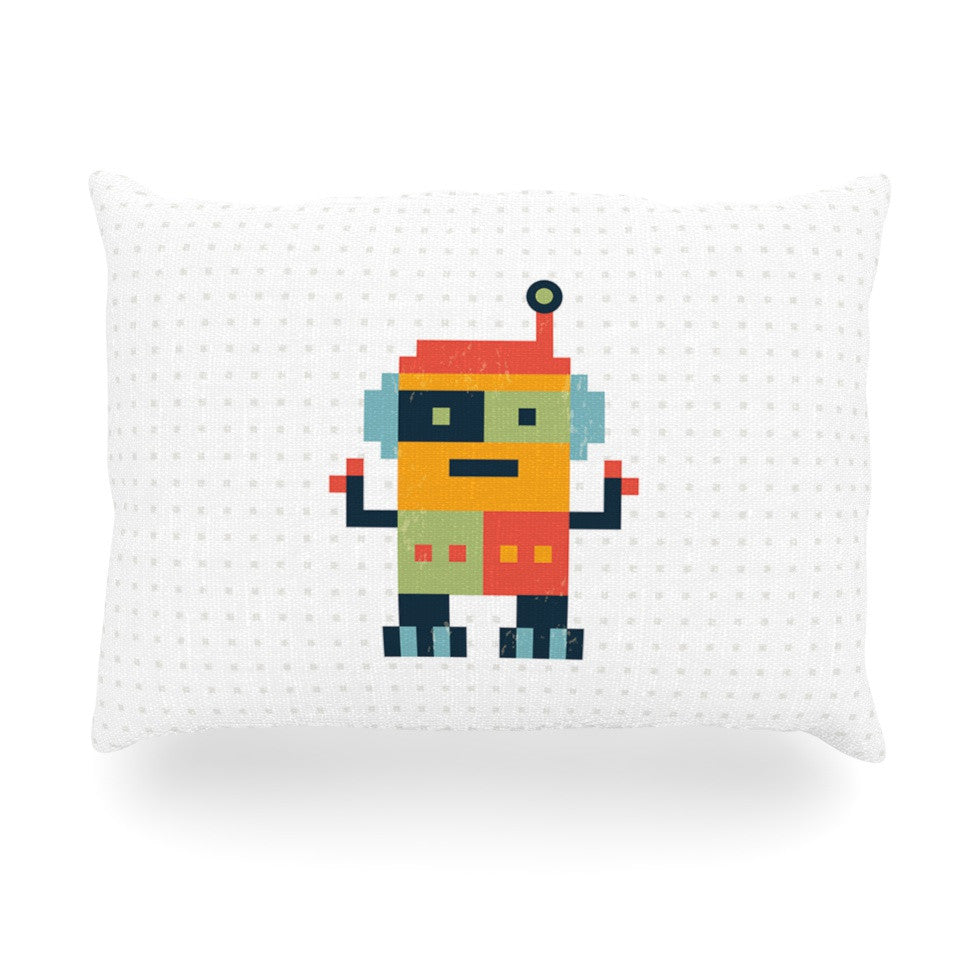 "Daisy Beatrice ""Happy Robot"" Multicolor Oblong Pillow - KESS InHouse"