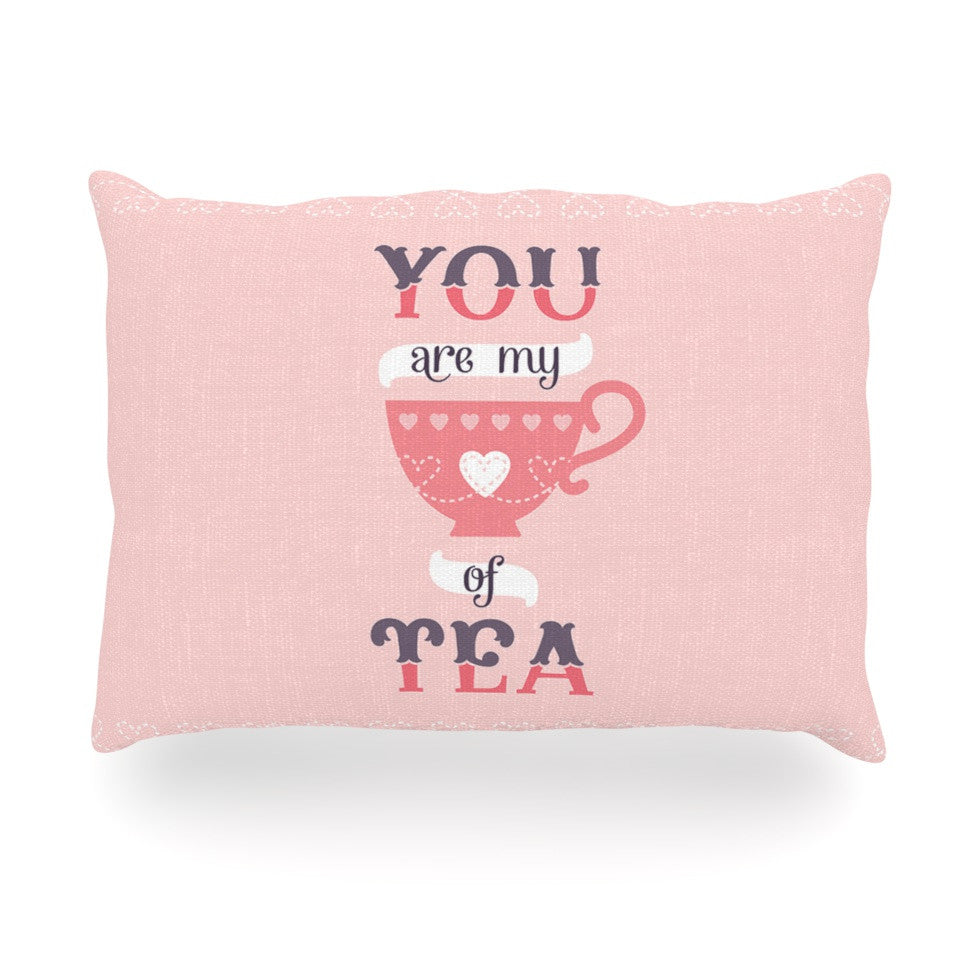 "Daisy Beatrice ""My Cup of Tea"" Pink Purple Oblong Pillow - KESS InHouse"