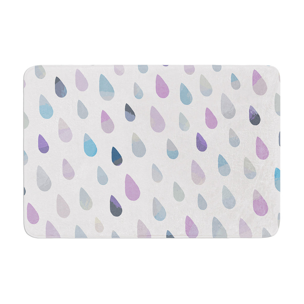 "Daisy Beatrice ""Opal Drops - Mist"" Purple White Memory Foam Bath Mat - KESS InHouse"