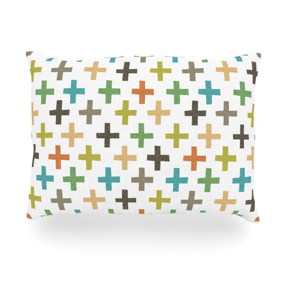 "Daisy Beatrice ""Hipster Crosses Repeat"" Multicolor Oblong Pillow - KESS InHouse"