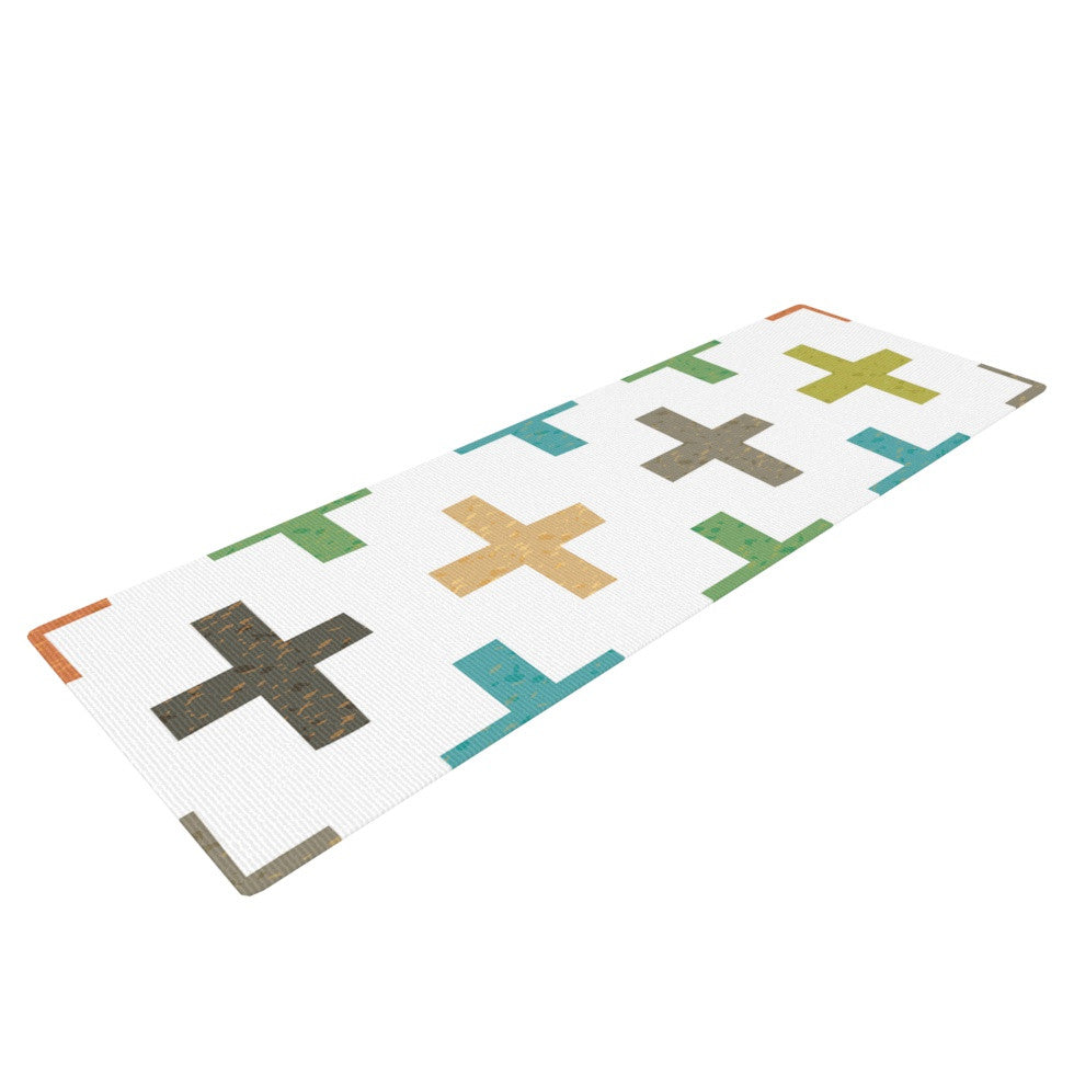 "Daisy Beatrice ""Hipster Crosses"" Multicolor Yoga Mat - KESS InHouse  - 1"