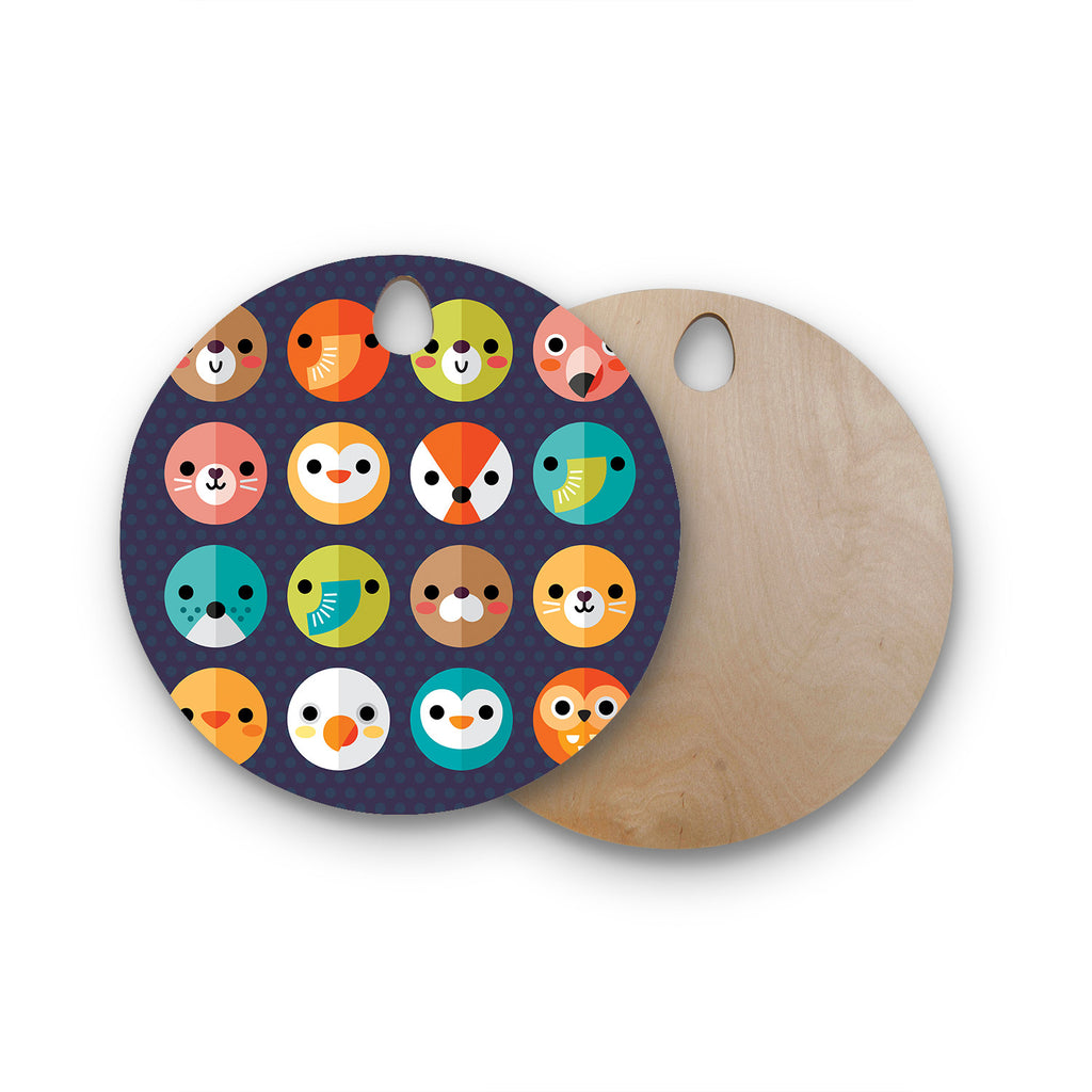 "Daisy Beatrice ""Smiley Faces"" Animals Round Wooden Cutting Board"