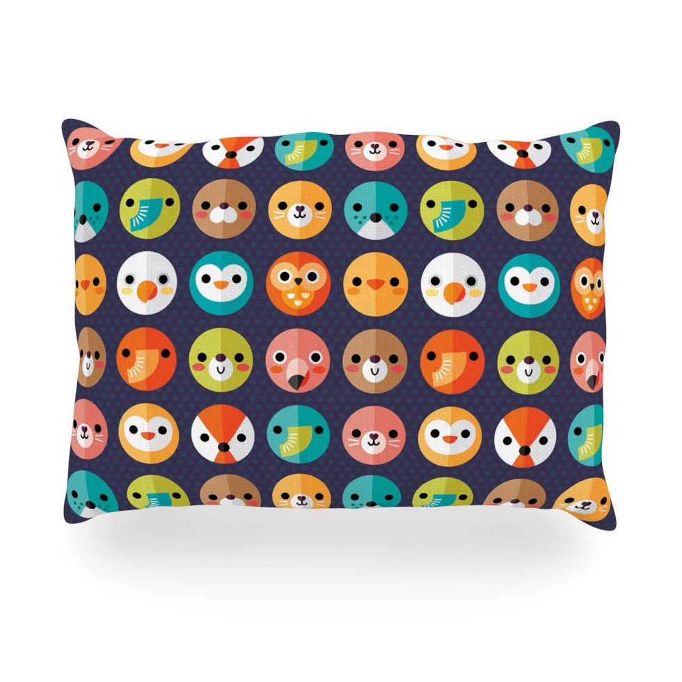 "Daisy Beatrice ""Smiley Faces Repeat"" Animal Pattern Oblong Pillow - KESS InHouse"