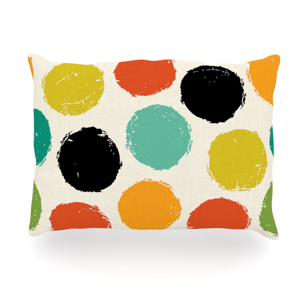 "Daisy Beatrice ""Retro Dots"" Circles Oblong Pillow - KESS InHouse"