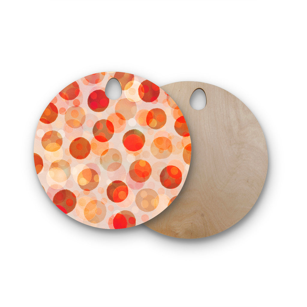 "Daisy Beatrice ""Shepherd's Delight"" Orange Round Wooden Cutting Board"