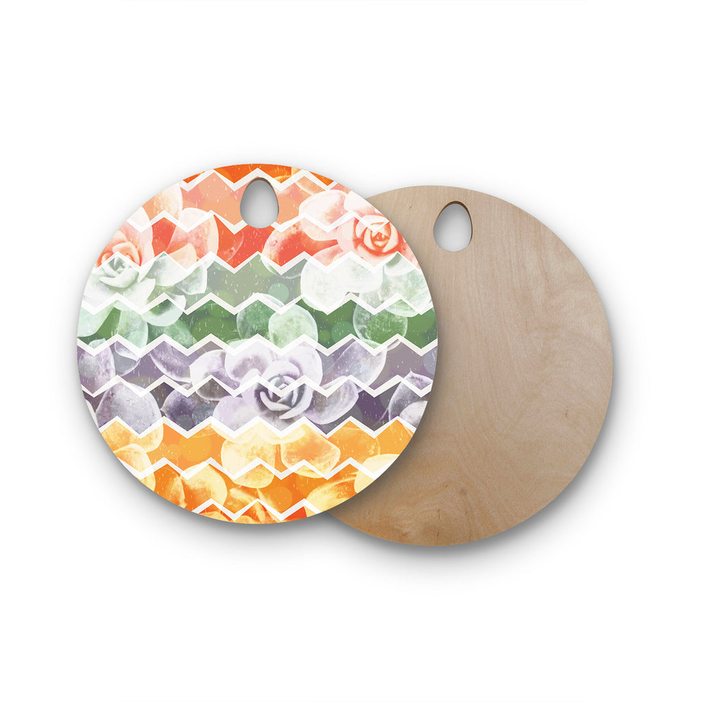 "Daisy Beatrice ""Desert Dreams"" Chevron Round Wooden Cutting Board"