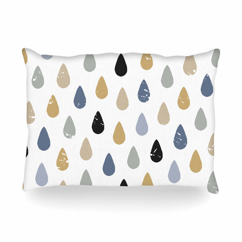"Daisy Beatrice ""RAINDROPS - SLATE BLUE-GOLD"" Blue Tan Pattern Geometric Vector Illustration Oblong Pillow"