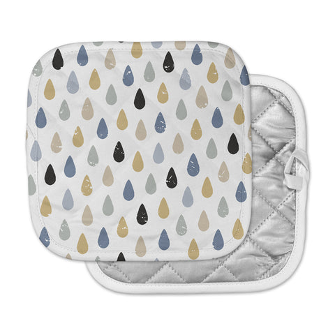 "Daisy Beatrice ""RAINDROPS - SLATE BLUE-GOLD"" Blue Tan Pattern Geometric Vector Illustration Pot Holder"