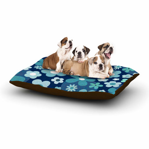 "Daisy Beatrice ""GROOVY BABY - INDIGO-MINT"" Blue White Floral Pattern Mixed Media Vector Dog Bed"