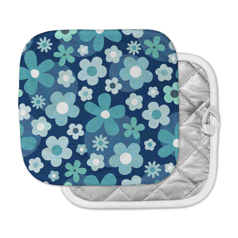 "Daisy Beatrice ""GROOVY BABY - INDIGO-MINT"" Blue White Floral Pattern Mixed Media Vector Pot Holder"