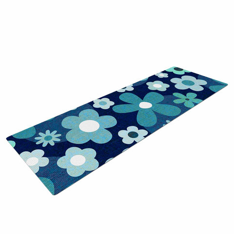 "Daisy Beatrice ""GROOVY BABY - INDIGO-MINT"" Blue White Floral Pattern Mixed Media Vector Yoga Mat"
