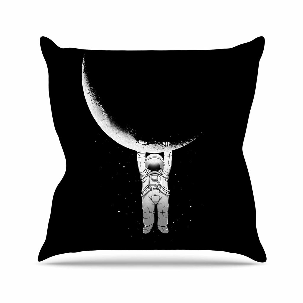 "Digital Carbine ""Help!"" Black White Outdoor Throw Pillow - KESS InHouse  - 1"