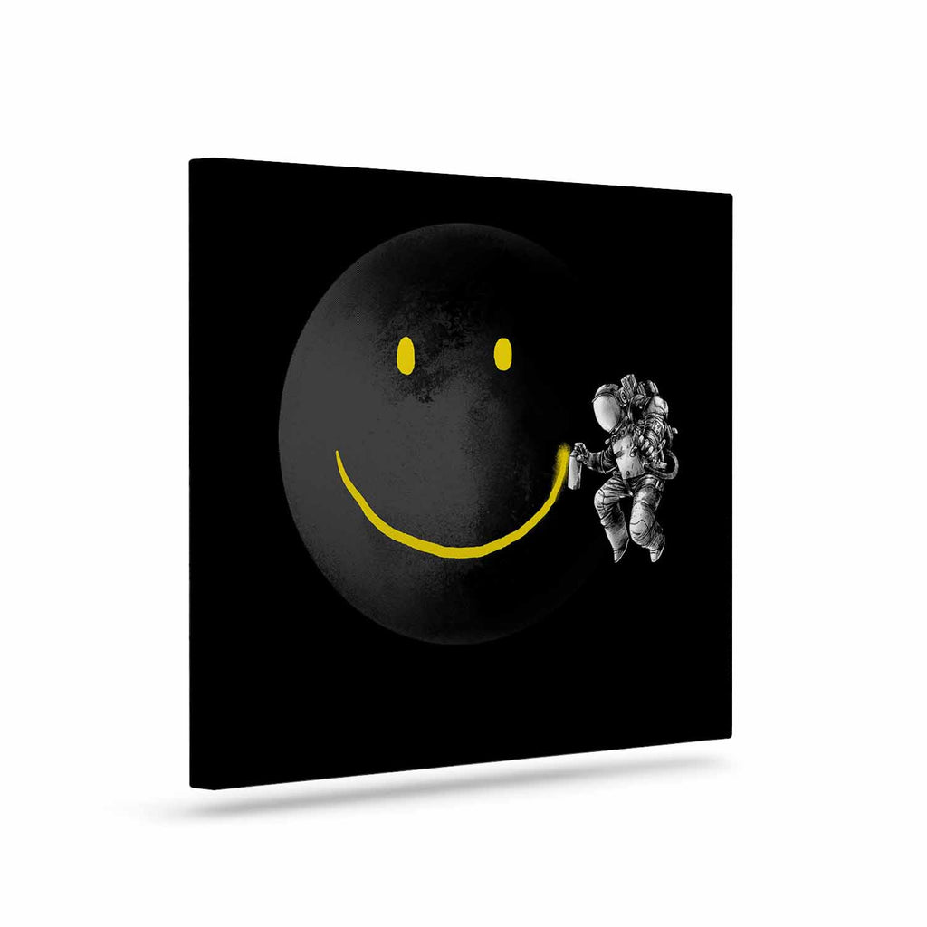 "Digital Carbine ""Make A Smile"" Black Yellow Canvas Art - KESS InHouse  - 1"