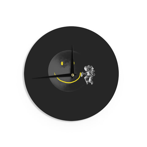 "Digital Carbine ""Make A Smile"" Black Yellow Wall Clock - KESS InHouse"