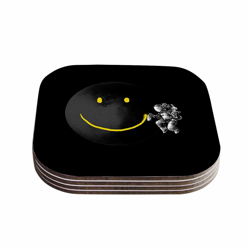 "Digital Carbine ""Make A Smile"" Black Yellow Coasters (Set of 4)"