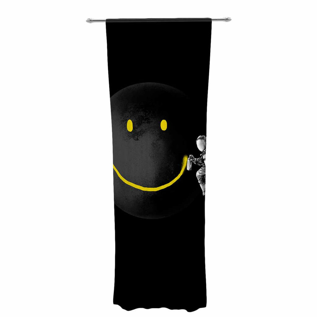 "Digital Carbine ""Make A Smile"" Black Yellow Decorative Sheer Curtain - KESS InHouse  - 1"