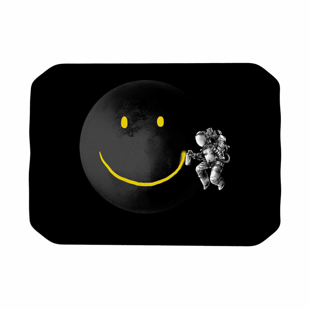 "Digital Carbine ""Make A Smile"" Black Yellow Place Mat - KESS InHouse"