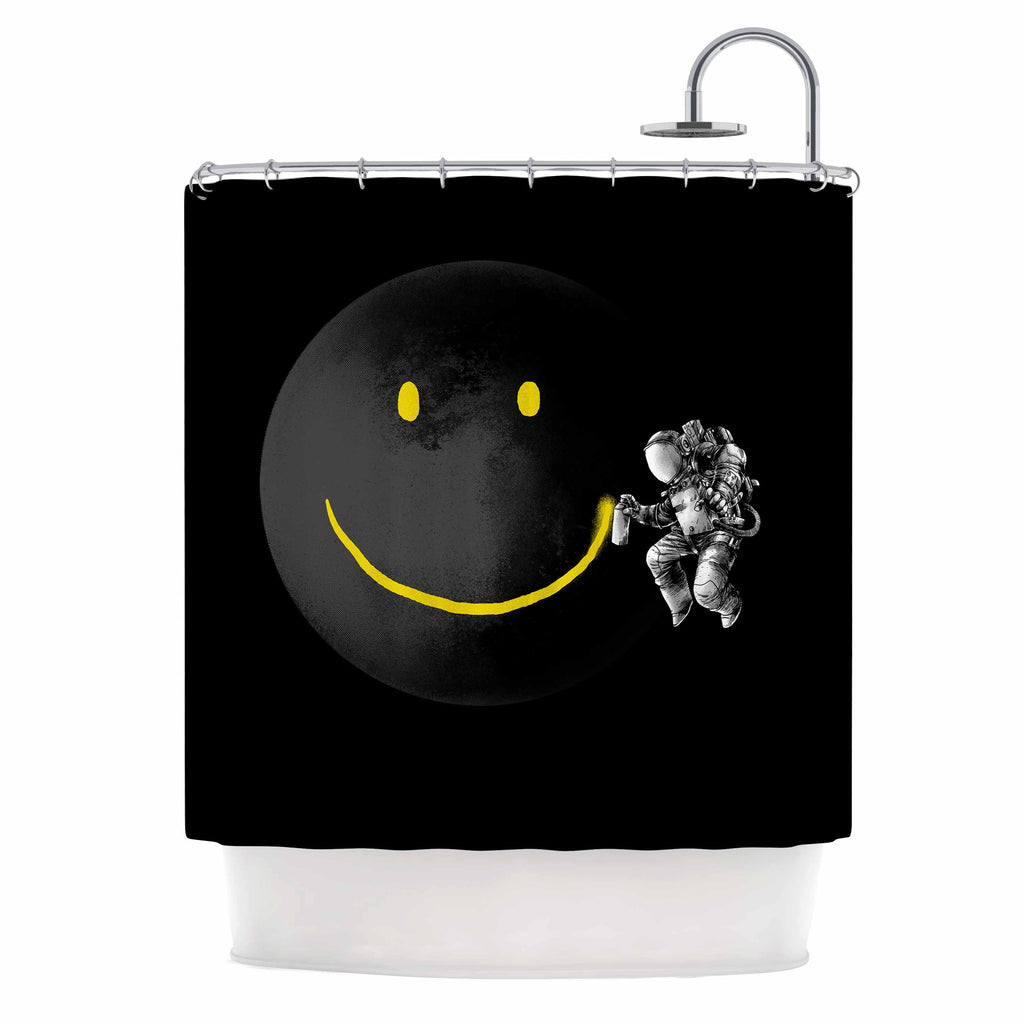 "Digital Carbine ""Make A Smile"" Black Yellow Shower Curtain - KESS InHouse"