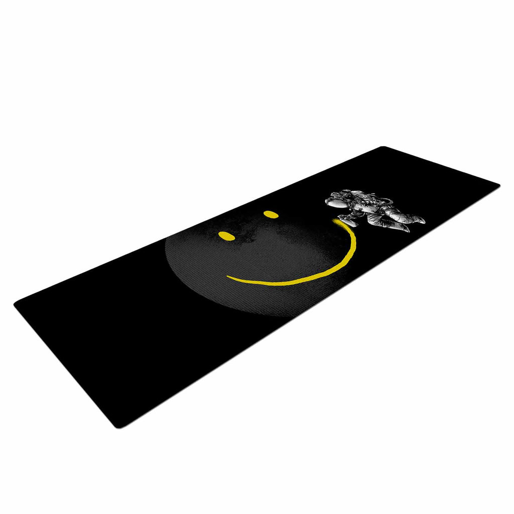 "Digital Carbine ""Make A Smile"" Black Yellow Yoga Mat - KESS InHouse  - 1"