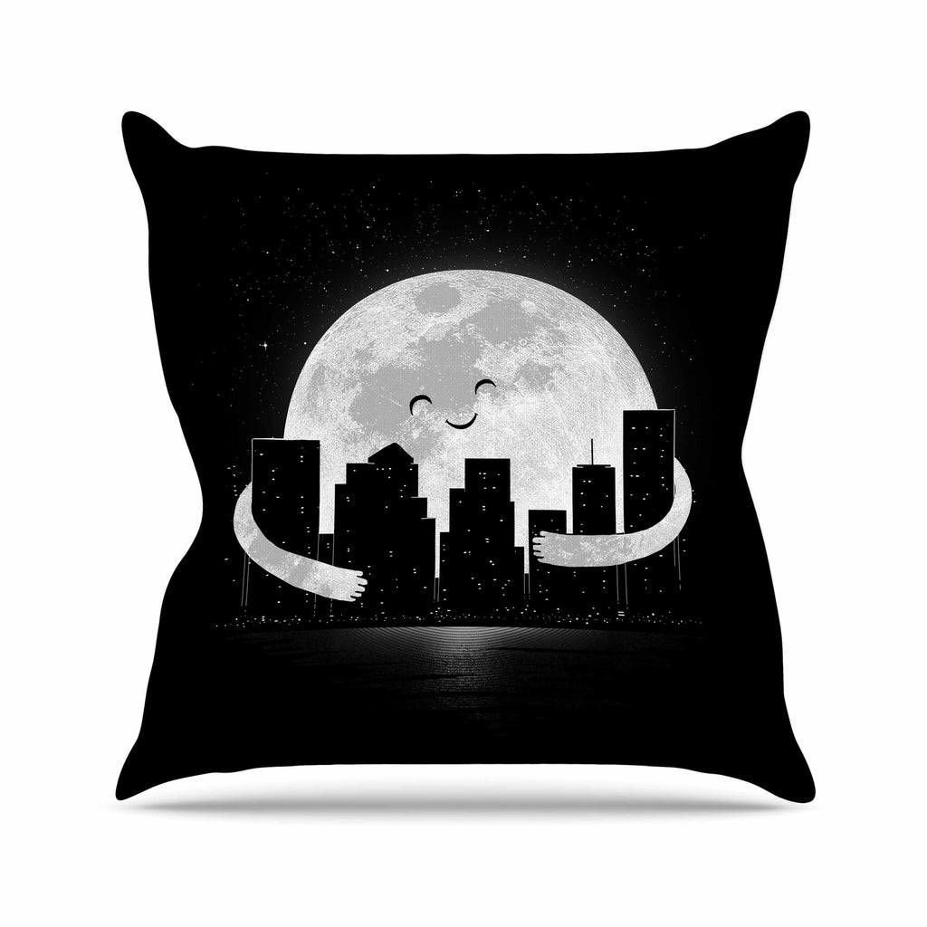 "Digital Carbine ""Goodnight"" Black White Throw Pillow - KESS InHouse  - 1"