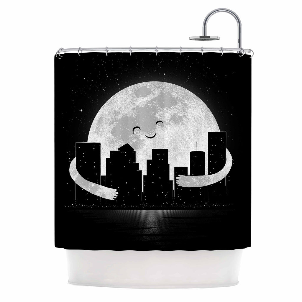 "Digital Carbine ""Goodnight"" Black White Shower Curtain - KESS InHouse"